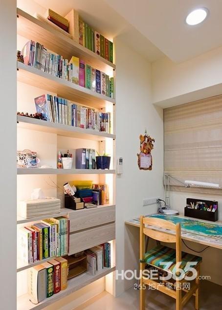 小书房设计效果图:很清新的小户型书房设计,墙面隔板书柜,各种