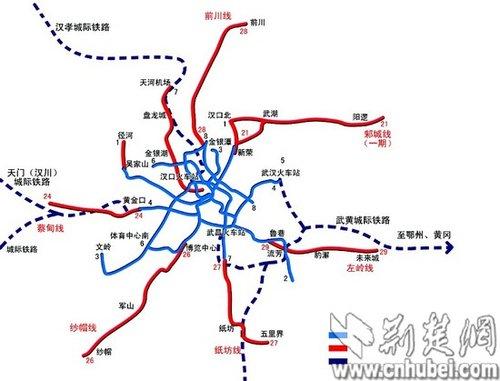 图为:武汉中长期轨道交通规划示意图