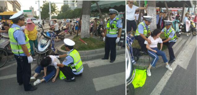 襄阳一市民等红绿灯时突发疾病晕倒 民警紧急救助