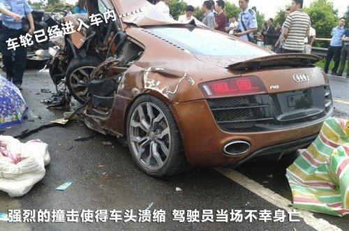 四川最猛车祸 电影制片人驾奥迪r8撞车身亡