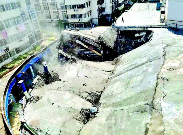 黄石一商业楼施工时发生坍塌 幸无人员伤亡