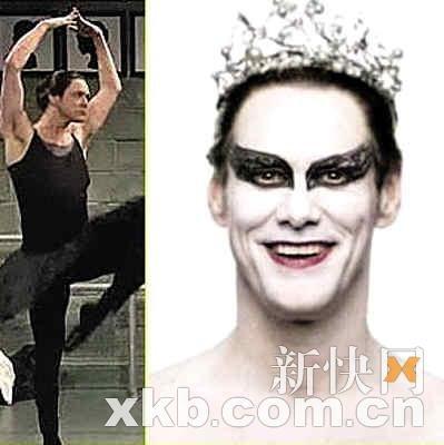 金?凯瑞扮恶搞电影《黑天鹅》 穿芭蕾裙搞笑(