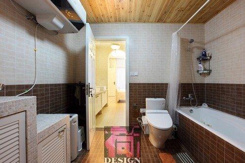 浴室也用了衫木扣板吊顶-150平田园混搭现代简约风 复式楼装修效果图