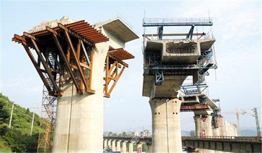 汉十高铁跨襄渝铁路桥转体成功