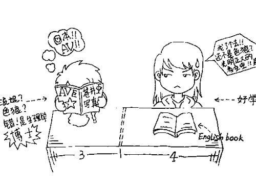 课桌手绘图三视图