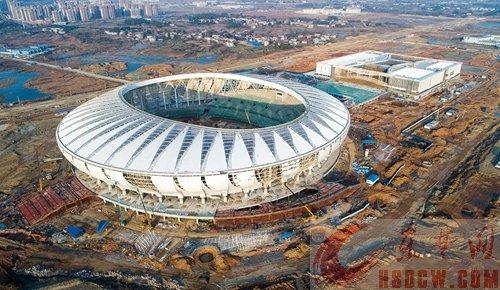 黄石奥体中心项目迎来施工高峰 累计投资12亿元