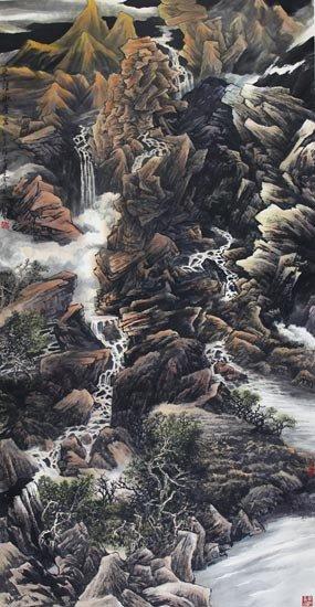 泉瀑濑苍岩