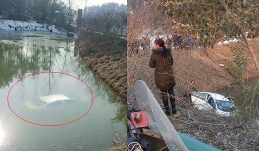 随州一男子开车低头捡拾物品 方向失控冲入池塘