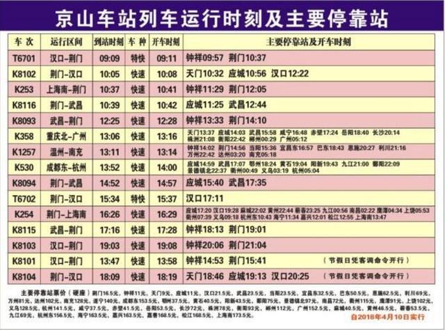 重磅!4月10日起京山火车站多个车次将发生变化