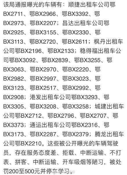 黄石39名出租车司机被通报 存在拒载不打表等行为