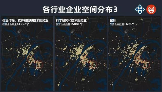 武汉的城市外围地区则主要集聚了建筑、交通运输、制造业等产业用地较大的行业。