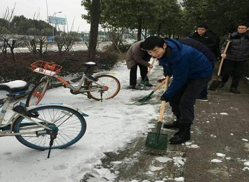 区政府办全体机关干部铲冰除雪保畅通