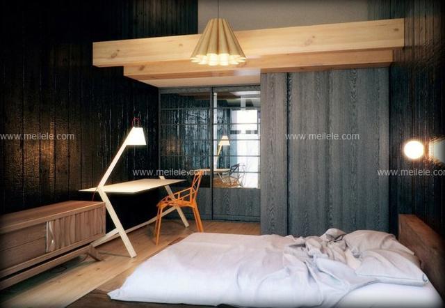 飘窗榻榻米床效果图:卧室同样是榻榻米的设计,但是黑色的墙面以及