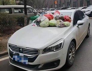 私家车疑因停放位置不当 车身被扔多个垃圾袋