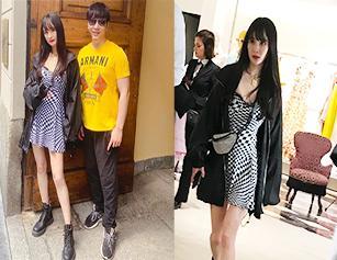 杨幂逛街被网友偶遇 刘海红唇新造型十分吸睛