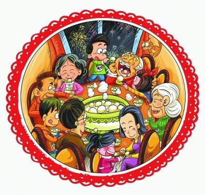 一家人吃汤圆的简笔画-汤圆价格不涨反降 专家教你健康吃汤圆