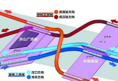 地铁2号线与4号线在洪山广场站和中南路站实现连续换乘. 制图陶刚-图片