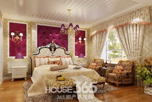 欧式卧室装修效果图:紫色高贵背景墙