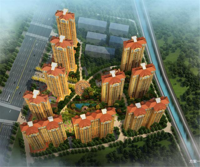 整个小区坐北朝南,采用欧式风格,围合式建筑布局,户型方正,南北通透.