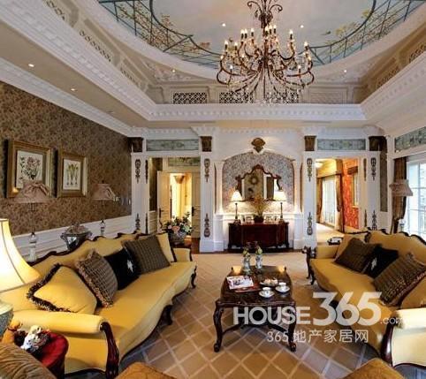 别墅地面拼花效果图:奢华客厅的拼花设计,简单不失时尚