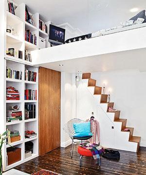 北欧风楼梯设计-34平米小户型 北欧风打造时尚公寓