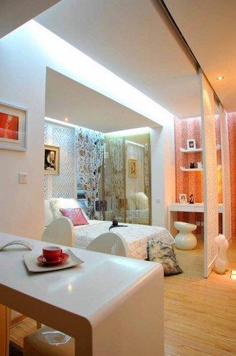40平靓丽蜗居装修设计案例 透明卫生间连客厅图片