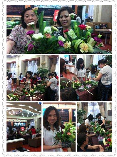 在老师的指导下,每一位学员都制作了一捧diy的插花作品.