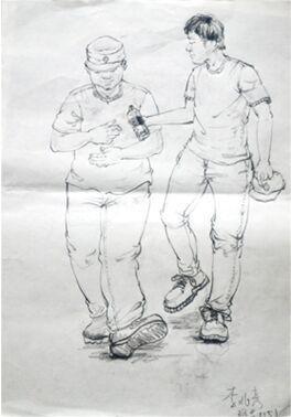 中秋节遇上阅兵日 大学生手绘肖像送别教官