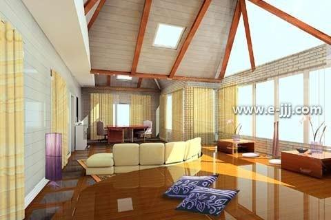 斜顶装修效果图现在也不是很长见,一般斜顶的处理需要有阁楼的家装