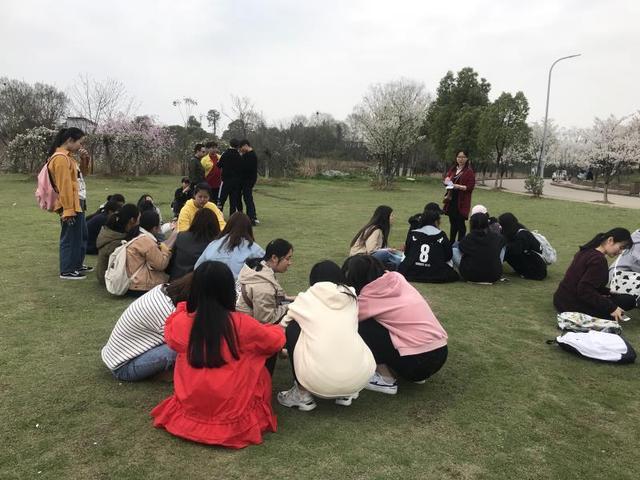 高校教师樱花树下讲课 激发学生课堂兴趣