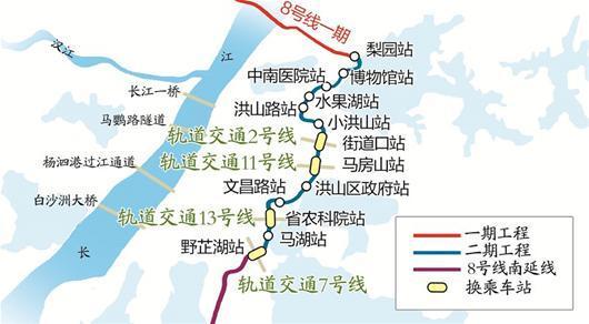 地铁8号线二期线路图-地铁8号线二期年内或开建 2号南延线本月施工图片