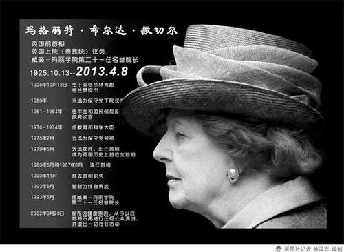 """英国前首相撒切尔夫人去世 世间再无""""铁娘子"""""""