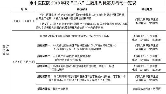 """荆门市中医医院开展""""三八""""妇女节主题优惠月活动"""