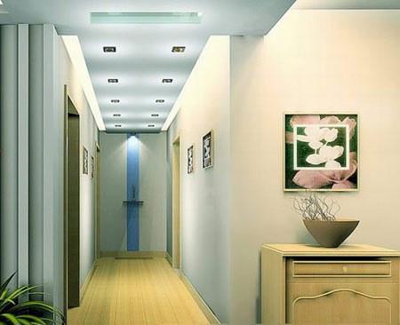 客廳進門玄關效果圖:走廊吊頂裝修效果圖,頂面燈光設計是亮點