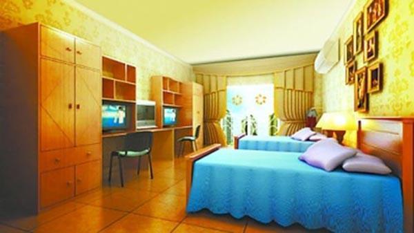 """""""8月3日,武汉生物工程学院(三本民办高校)一张二人学生宿舍效果图在图片"""