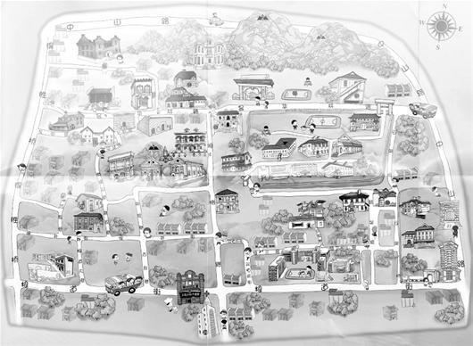"""这套""""武汉系列手绘旅游地图"""",首批包括黄鹤楼大景区,昙华林,武汉大学"""