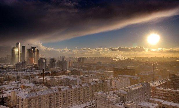 摄影师拍摄莫斯科上空壮丽天象