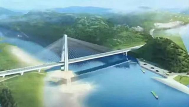 郧西县天河口汉江公路大桥效果图