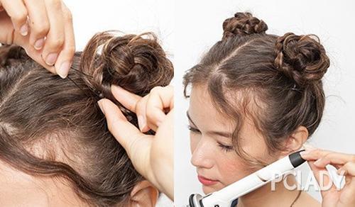 先将头发分为左右两边,扎起两个高马尾.图片
