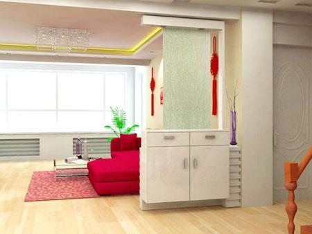 玄关鞋柜装修效果图:白色的鞋柜和背后的红色沙发形成了鲜高清图片