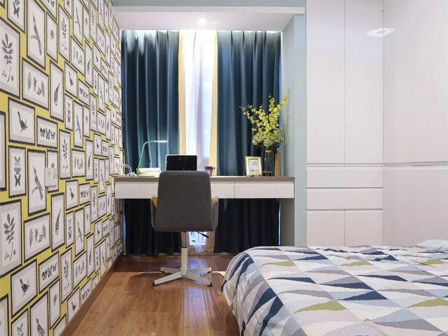 130㎡现代北欧三房 儿童房的壁纸好有活力!图片