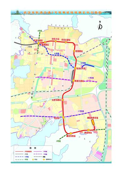 地铁2号线南延线线路图.(工程站名为暂定名)-地铁2号线南延线开图片