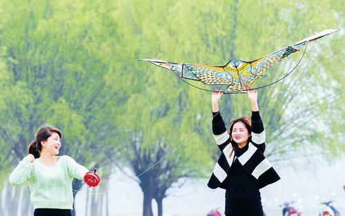 阳春三月纸鸢飞 市民在河滩边愉快放风筝