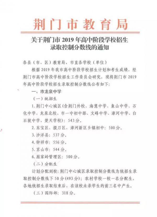 2019年荆门录取中考分数线出炉校区湖北高中老民族学院恩施图片