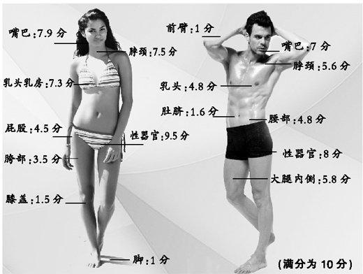 多国共同发布调查结果男女性敏感部位大排名
