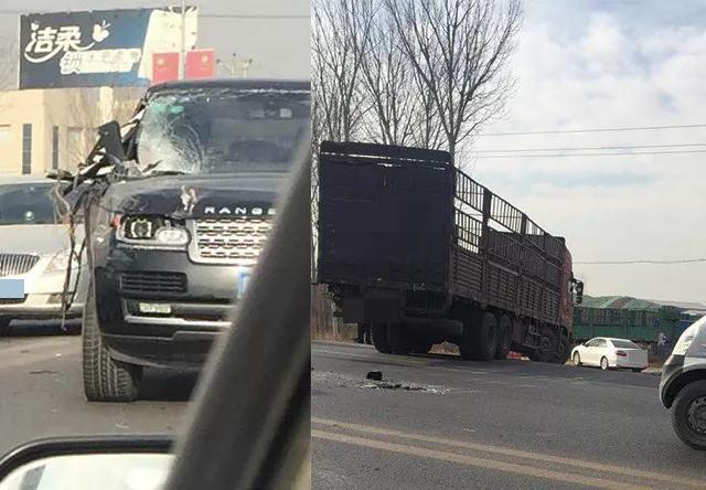 玉田县一辆婚车在路上发生事故 车体被撞坏