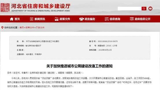河北省城市公厕建设改造将建项目进展清单