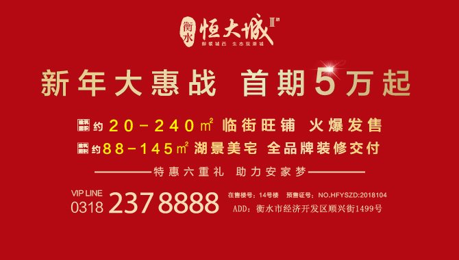 恒大城――新年大惠战,首期5万起