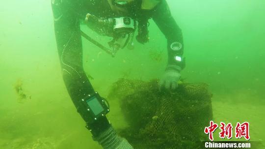 秦皇岛志愿者负重30公斤潜入海底清算近海垃圾