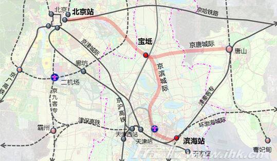城际铁路,西起北京市,东到河北省唐山市,线路长约150公里,设计